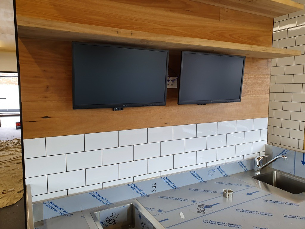 Monitors in commercial kitchen